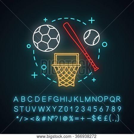 Afterschool Activities Neon Light Concept Icon. Out Of School Idea. Kids Leisure. Basketball, Baseba