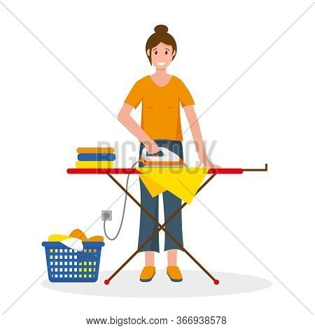 Woman Ironing Clothes On An Ironing Board. Housewife At Home. Household Concept Design. Vector Illus