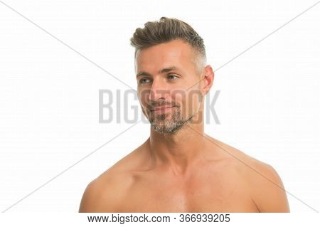 Skincare Is Essential. Handsome Man With Bare Shoulders Isolated On White. Unshaven Face Skin. Mens