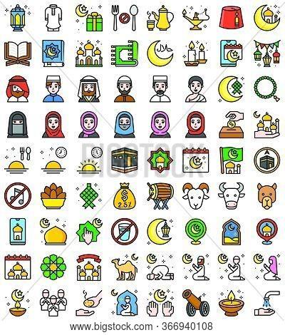 Ramadan Festival Related Vector Icon Set, Filled Design