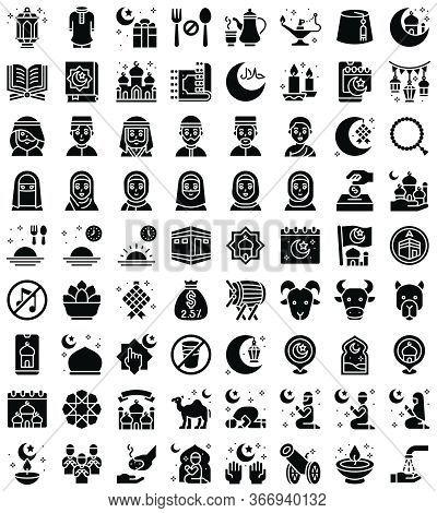 Ramadan Festival Related Vector Icon Set, Solid Design