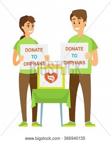 Man And Woman Cooperation, Social Help, Donate To Orphans, Portrait View Of Couple Volunteers Holdin