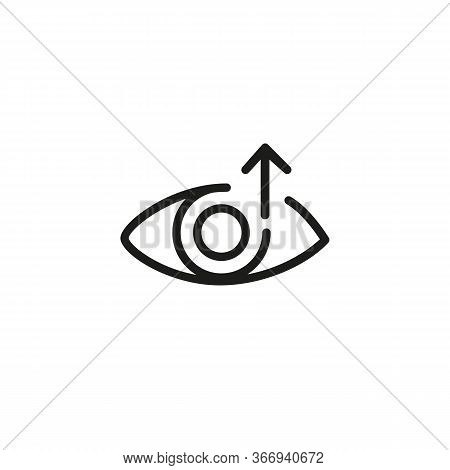 Icon Of Improvement Of Sight. Eye, Arrow, Looking Up. Optometry Concept. Can Be Used For Topics Like