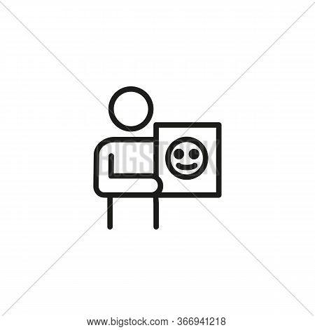 Icon Of Person Showing Paper With Emoji. Anonym, Lack Of Personality, Social Media. Online Communica