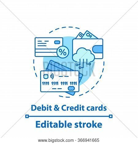 Debit And Credit Cards Concept Icon. Banking. Financial Transactions. Finance Management Idea Thin L