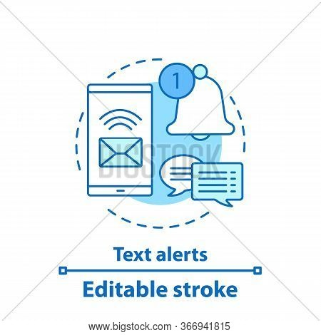 Incoming Message Concept Icon. Text Alert Idea Thin Line Illustration. Notifications. Dialog, Chat.