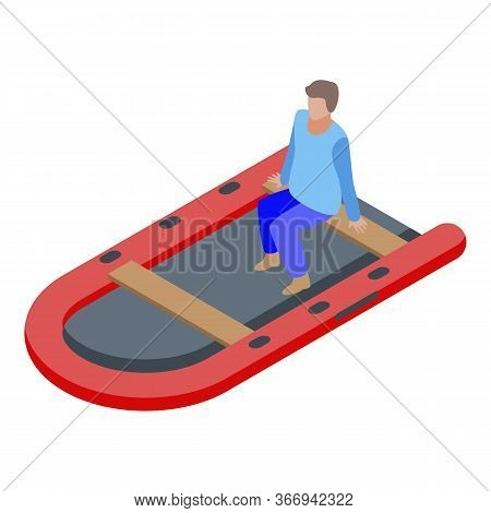 Man In Rescue Boat Icon. Isometric Of Man In Rescue Boat Vector Icon For Web Design Isolated On Whit