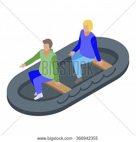People In Rescue Boat Icon. Isometric Of People In Rescue Boat Vector Icon For Web Design Isolated O