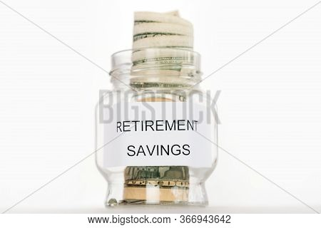 Saving Money For Retirement Plan Finance Concept Retirement, Pension, Currency.