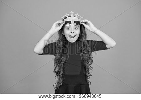 Wow Im Surprised. Surprised Kid Wear Prop Crown And Glasses. Little Child Look Surprised Orange Back