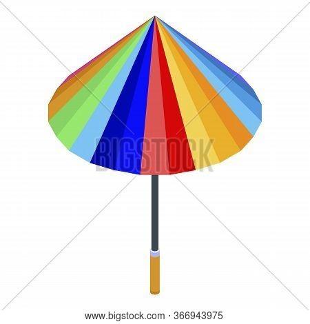 Colorful Rainy Umbrella Icon. Isometric Of Colorful Rainy Umbrella Vector Icon For Web Design Isolat