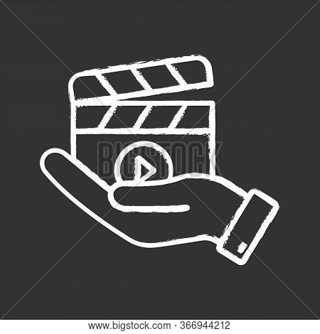 Movie Release Chalk Icon. Video Production. Cinematography. Hand Holding Clapperboard. Film Director