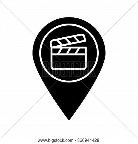 Film Locations Glyph Icon. Movie Map. Movie Theater Location. Film Producing Places. Map Pinpoint Wi