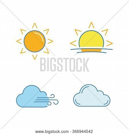 Weather Forecast Color Icons Set. Sun, Sunrise, Sunset, Cloudy And Windy Weather, Cloud. Isolated Ve