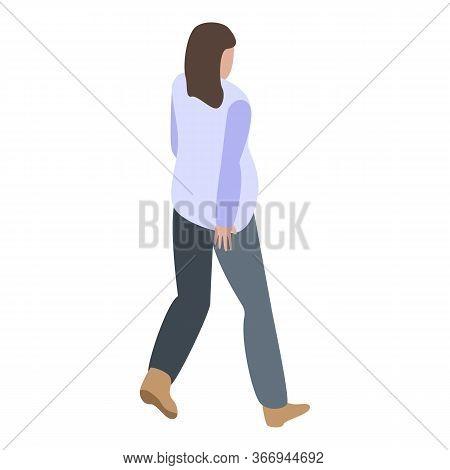 Walking Pregnant Woman Icon. Isometric Of Walking Pregnant Woman Vector Icon For Web Design Isolated