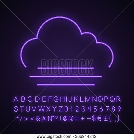 Fog Neon Light Icon. Foggy Weather. Smog. Weather Forecast. Glowing Sign With Alphabet, Numbers And