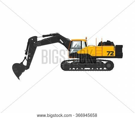 Digger Hydraulic Excavator With Dipper Isolated On White Background, Vector Illustration
