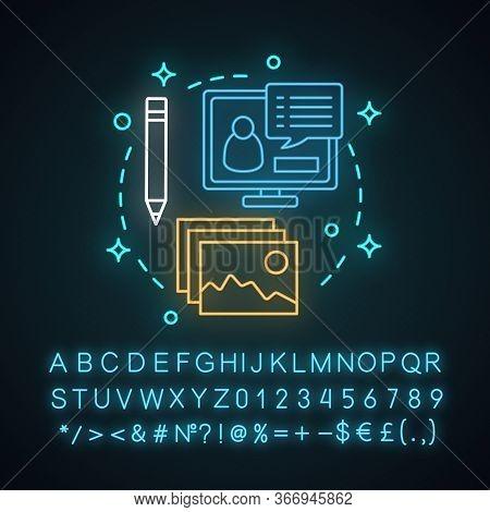 After School Program Neon Light Concept Icon. Webinar Idea. Online Cource. Distance Education. Inter