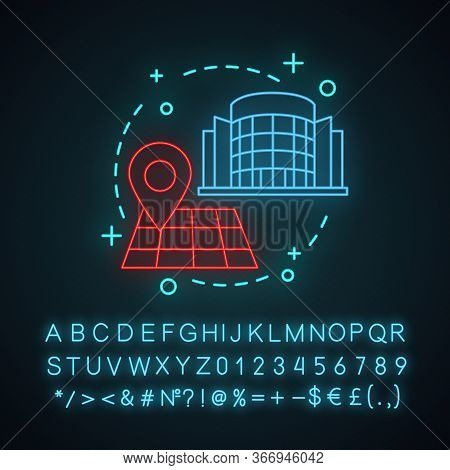 Building Location Neon Light Concept Icon. Shopping Mall, Business Center, Office Location Idea. Rou