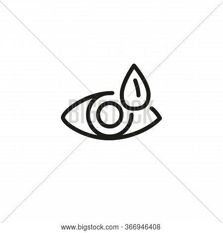 Icon Of Dry Eye. Tired Eye, Saline-containing Drops, Medication, Artificial Tear. Optometry Concept.