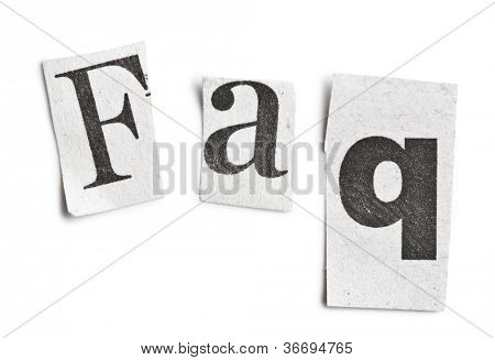 faq word made �¢??�¢??of newspaper letters on white background