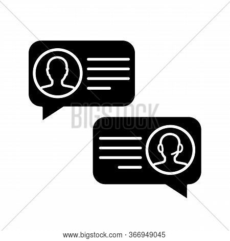 Customer Live Chat Glyph Icon. Clients Care Service. Online Communication With Clients. Customer Sup