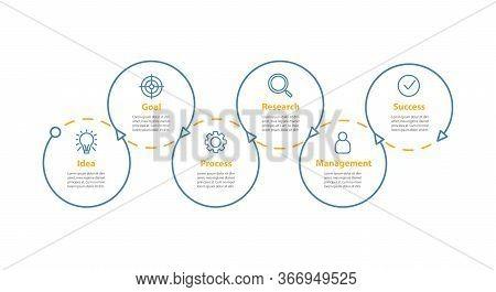 Project Management Vector Infographic Template. Achievement. Goal Achieving. Idea Realization. Data