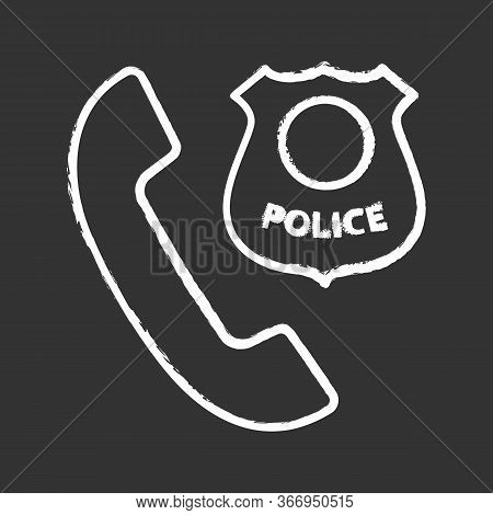 Call The Police Chalk Icon. Emergency Call. Handset With Police Badge. Isolated Vector Chalkboard Il
