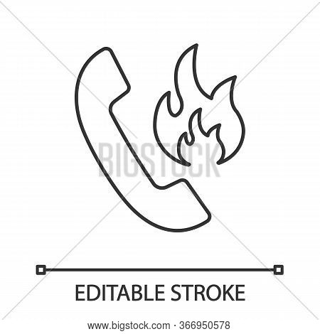 Hotline Support Linear Icon. Fire Emergency Call. Thin Line Illustration. Handset With Fire. Contour