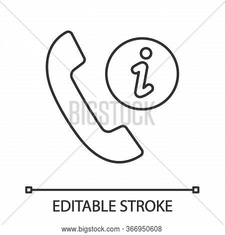 Infocenter Support Linear Icon. Information Center. Hotline Support. Thin Line Illustration. Helpdes