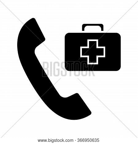 Doctor Appointment Glyph Icon. Call Ambulance. Emergency Call. Handset With First Aid Kit. Silhouett