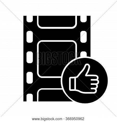 Post-production Glyph Icon. Final Edited Film. Approved Movie. Final Cut. Movie Review. Filmstrim Wi