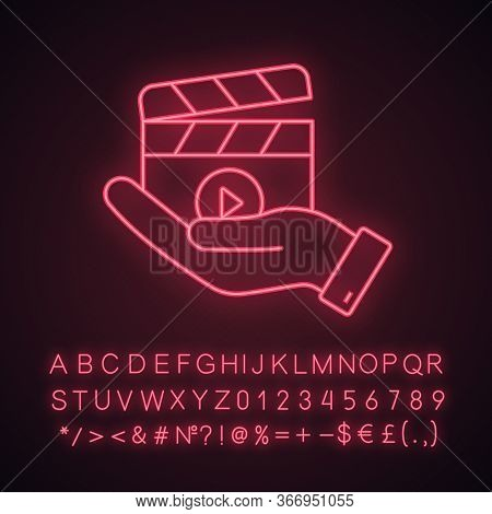 Movie Release Neon Light Icon. Video Production. Cinematography. Hand Holding Clapperboard. Film Dir