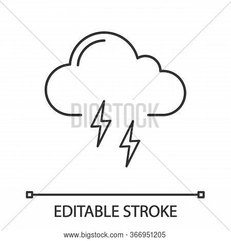 Thunderstorm Linear Icon. Thunder Storm. Thin Line Illustration. Lightning Storm. Stormy. Weather Fo