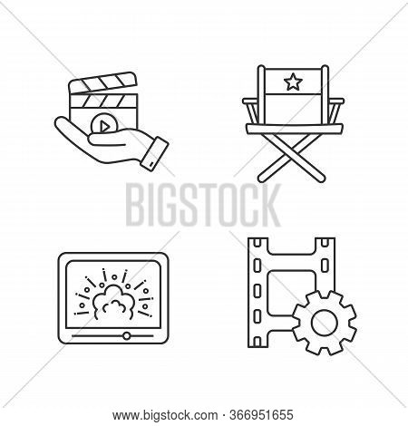 Film Industry Linear Icons Set. Movie Release, Director S Chair, Visual Effects, Video Settings. Thi