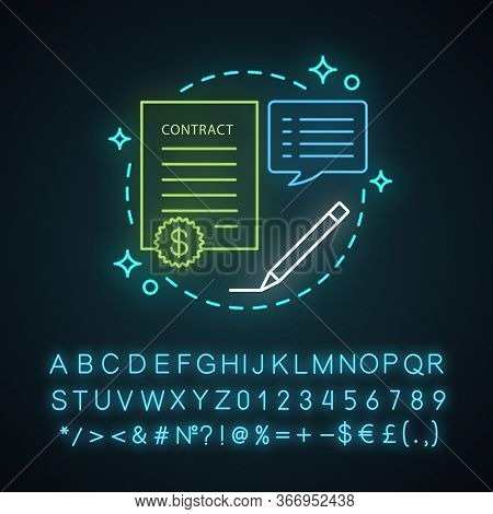 Contract Neon Light Concept Icon. Business Agreement. Document Idea. Business Deal. Glowing Sign Wit