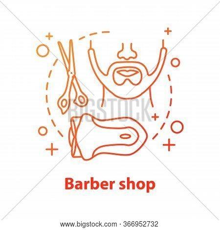 Barbershop Concept Icon. Men Grooming Idea Thin Line Illustration. Barbershop. Men Beard Style. Vect