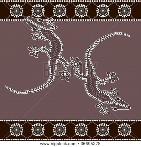 A Illustration Based On Aboriginal Style Of Dot Painting Depicting Lizard