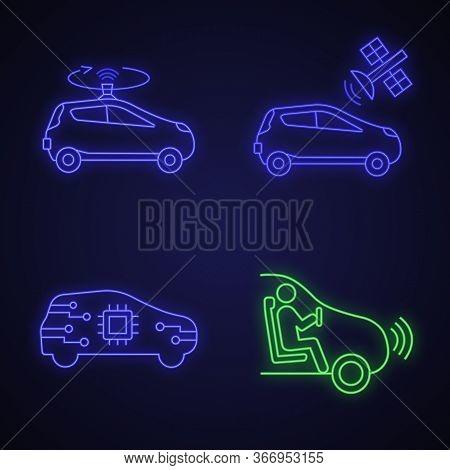 Autonomous Car Neon Light Icons Set. Self Driving Automobiles. Lidar, Auto With Satellite Control, C