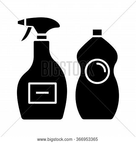 Cleaning Chemicals Glyph Icon. Window Cleaner, Dishwash. Cleaning Products For Bathroom, Kitchen, To