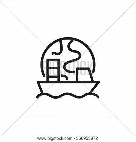 Line Icon Of Boat Against Globe. Cruise, Voyage, World Tour. Travel Concept. Can Be Used For Topics