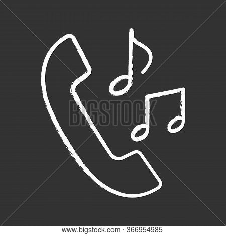 Call Ringtones Chalk Icon. Incoming Call Melody. Handset With Musical Notes. Isolated Vector Chalkbo