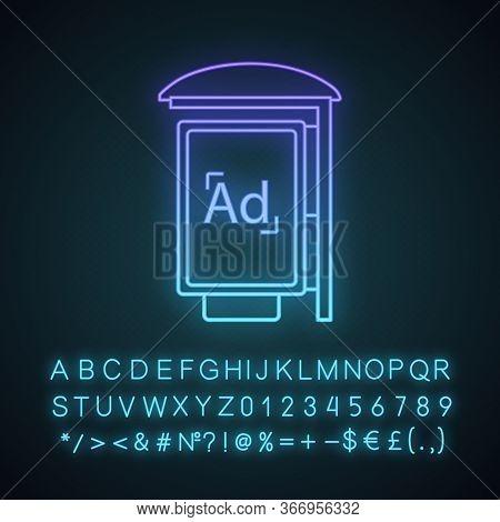 Bus Stop Advertisement Neon Light Icon. Outdoor Advertising. Bus Shelter Ads. Advertising Street Lig