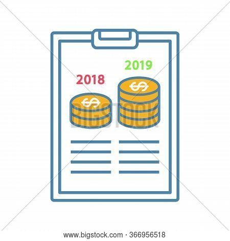 Annual Report Color Icon. Profit And Loss Report. Financial Statement. Accounting And Bookkeeping. C