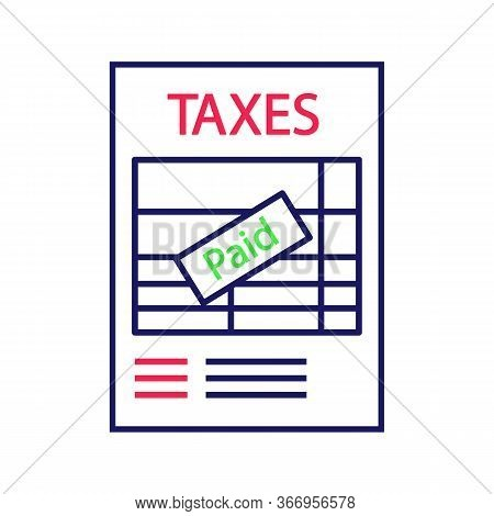Tax Return Color Icon. Tax Reporting. Accounting And Bookkeeping. Financial Charges Invoice. Financi