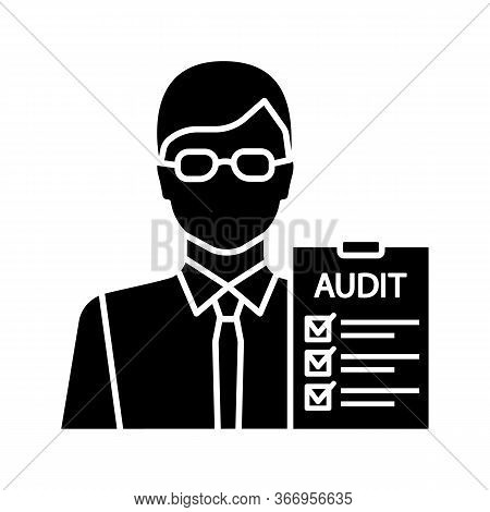 Auditor Glyph Icon. Financial Inspection. Assurance Service. Auditing. Bookkeeper, Accountant. Finan