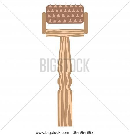 Massage Applicator In A Wooden Case For Massage And Self-massage. Vector.