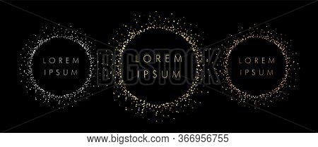 Set Of Sparkling Rings With Dust Glitter, Black Background. Medal Elements. Glorious Decorative Glow