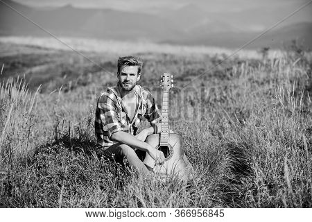 Sweet Song. Western Camping And Hiking. Sexy Man With Guitar In Checkered Shirt. Country Music Song.