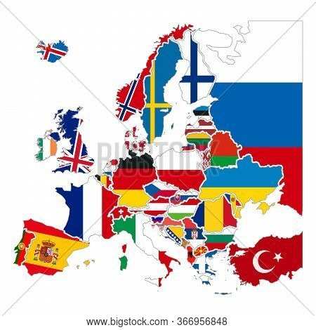 Detailed Silhouettes Of Europe Countries With National Flags, Europe Map Iso On White